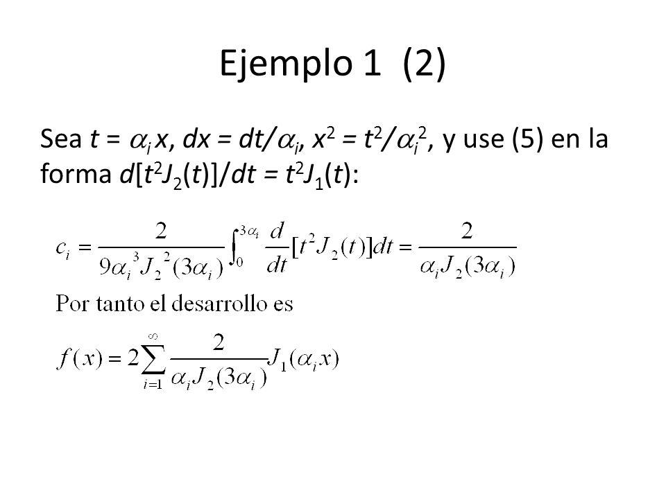 Ejemplo 1 (2) Sea t = i x, dx = dt/i, x2 = t2/i2, y use (5) en la forma d[t2J2(t)]/dt = t2J1(t):